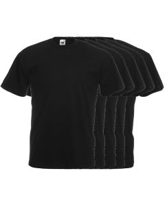 5-pack T-shirts Fruit of the Loom ronde hals zwart